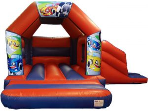 Cartoon Race Cars Bouncy Castle Slide Hire Farnborough